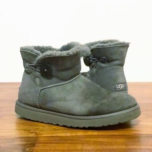 Ugg 10 Mini Bailey Button Gray Sheepskin Boots